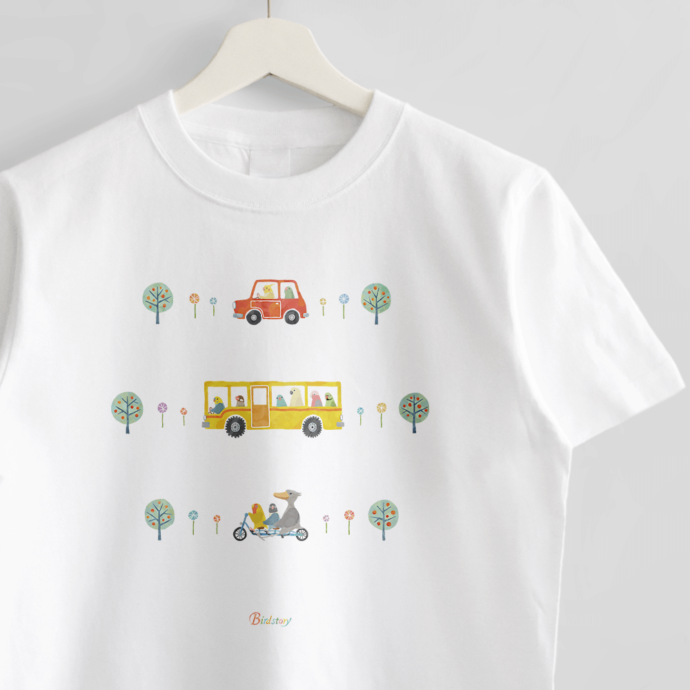 Tシャツ バスと鳥さん セキセイインコ