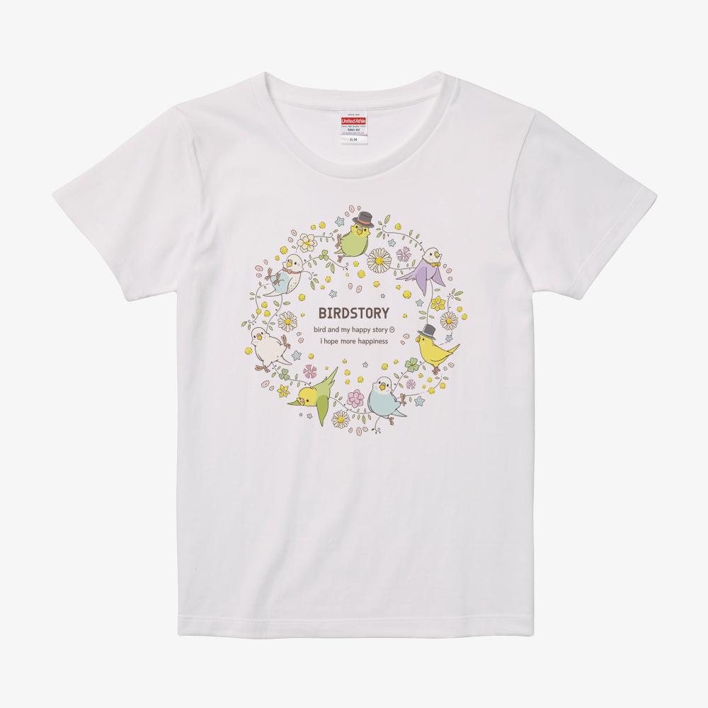ことりとおはな(セキセイインコ)Tシャツ