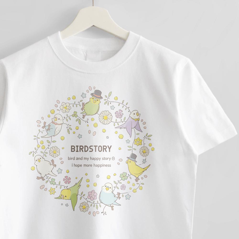 Tシャツ(ことりとおはな / セキセイインコ)