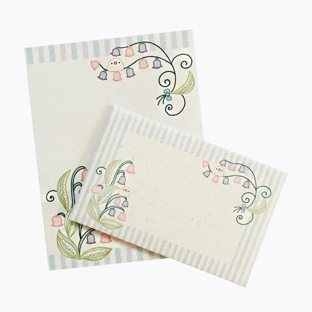 和紙風ミニレターセット(文鳥とスズラン)