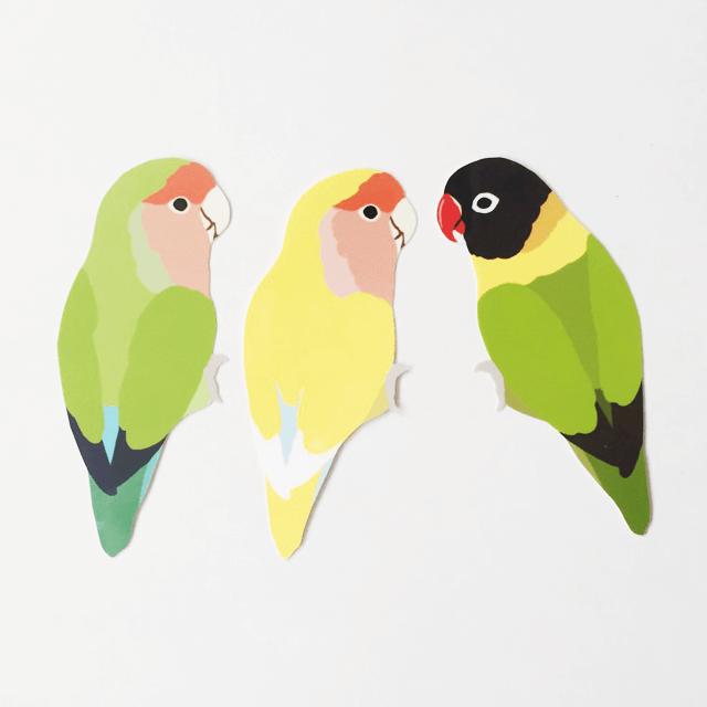 鳥デザインステッカー(コザクラインコ・ボタンインコ)