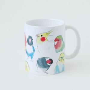ボタンインコ 桜文鳥 オクムラミチヨ作品マグカップ