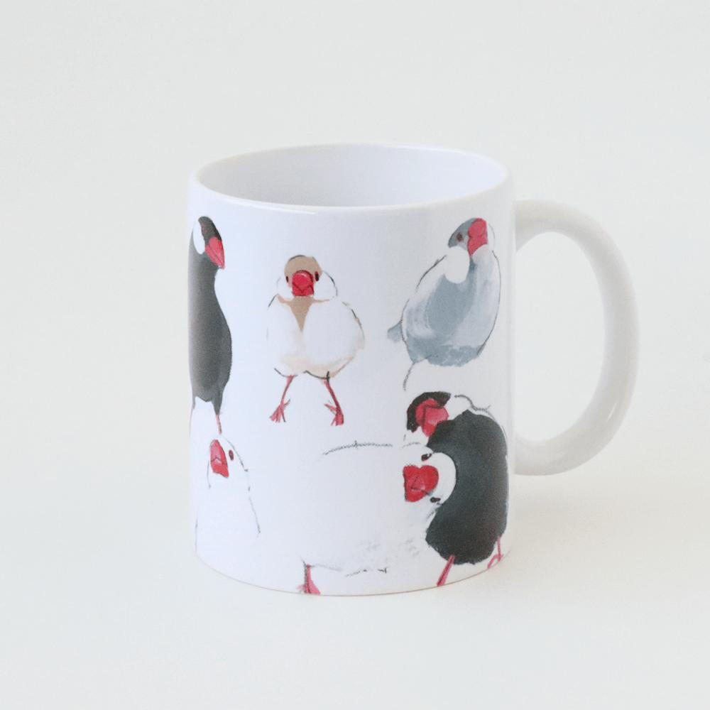 シルバーブンチョウやシナモン文鳥などマグカップ オクムラミチヨ