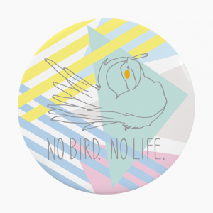 小鳥のいない人生なんて!オカメインコ 缶バッジ(カラフル)