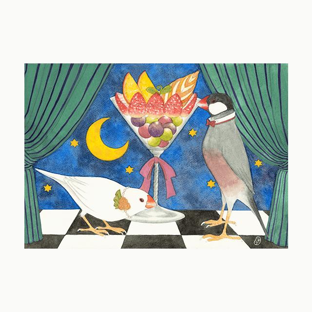 文鳥院まめぞう ポストカード(夜空に咲く白い華)