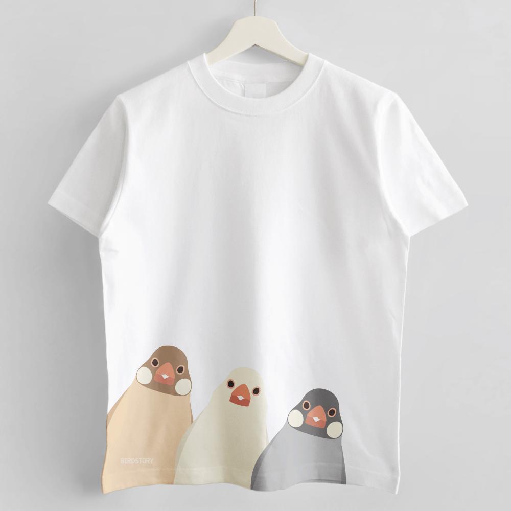 SMILE BIRD Tシャツ シナモン文鳥たち