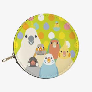 SMILE BIRD コインケース(グリーン)セキセイインコやブンチョウイラスト