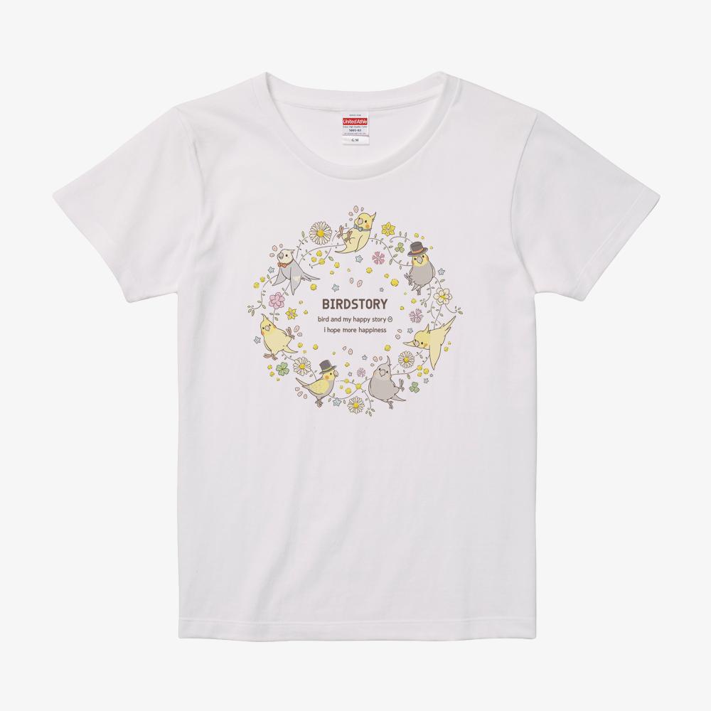Tシャツ(ことりとおはな / オカメインコ)