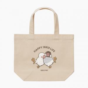 刺繍ランチトート(HAPPY BIRD LIFE 文鳥 / ナチュラル)
