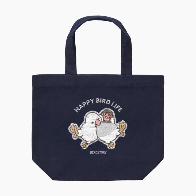 刺繍ランチトート(HAPPY BIRD LIFE 文鳥 / ネイビー)