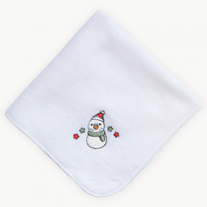 雪だるまセキセイインコ(クリスマス限定カラー)刺繍ミニタオル