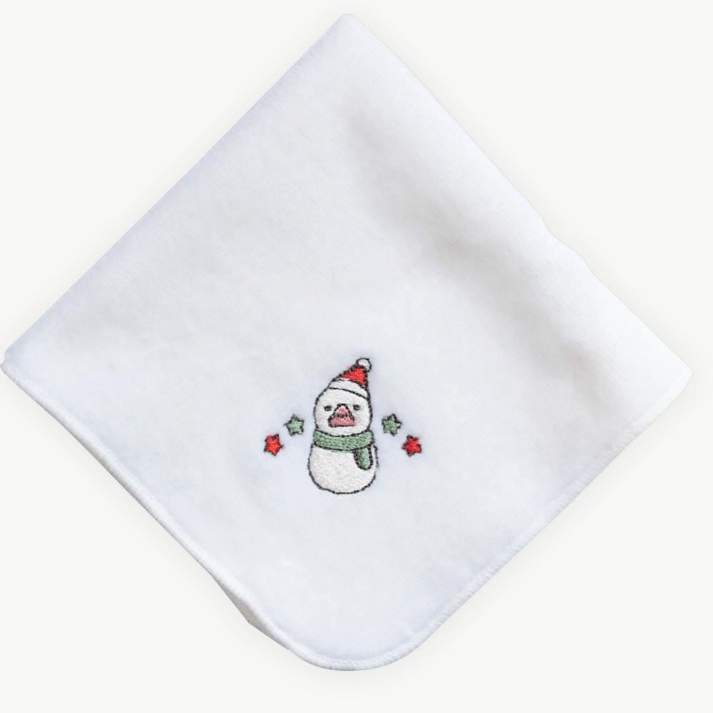 雪だるま文鳥(クリスマス限定カラー)刺繍ミニタオル