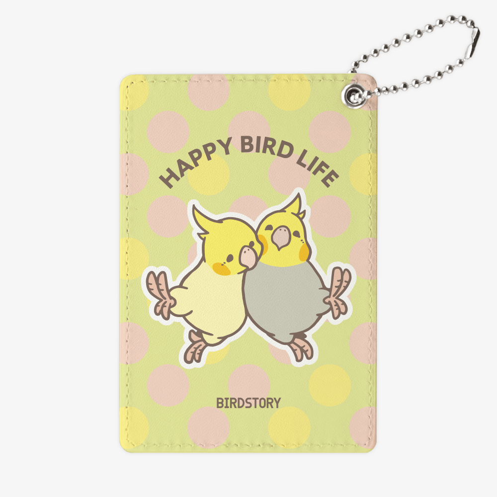 パスケース(HAPPY BIRD LIFE / オカメインコ)もふもふイラスト