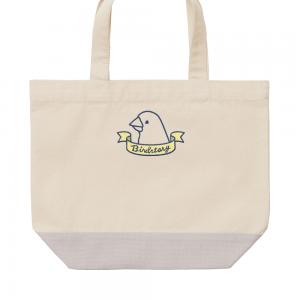 刺繍ランチトート(バードリボン / 文鳥 / グレー)