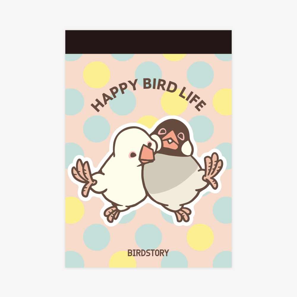 メモ帳(HAPPY BIRD LIFE / 文鳥)