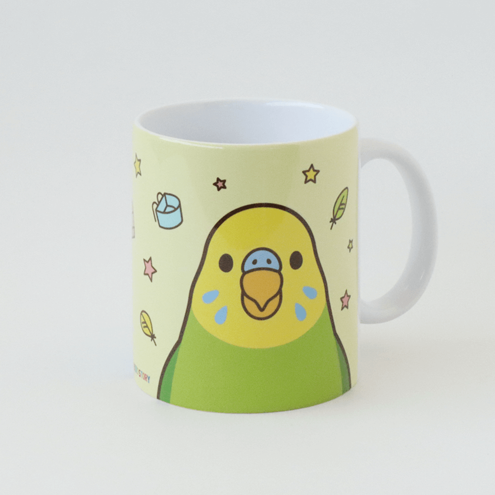 SMILEBIRD セキセイインコ笑顔のイラストマグカップ