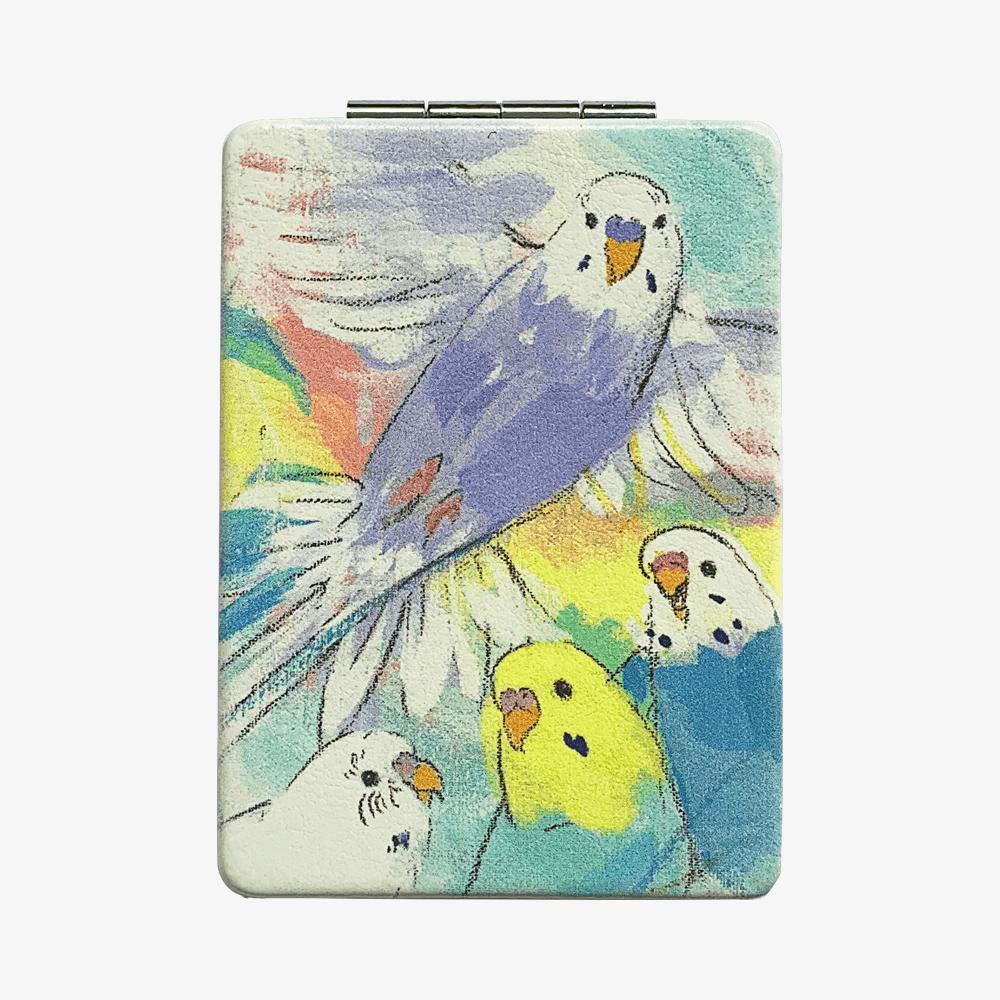 折りたたみミラー(オクムラミチヨ / Rainbow -セキセインコ-)