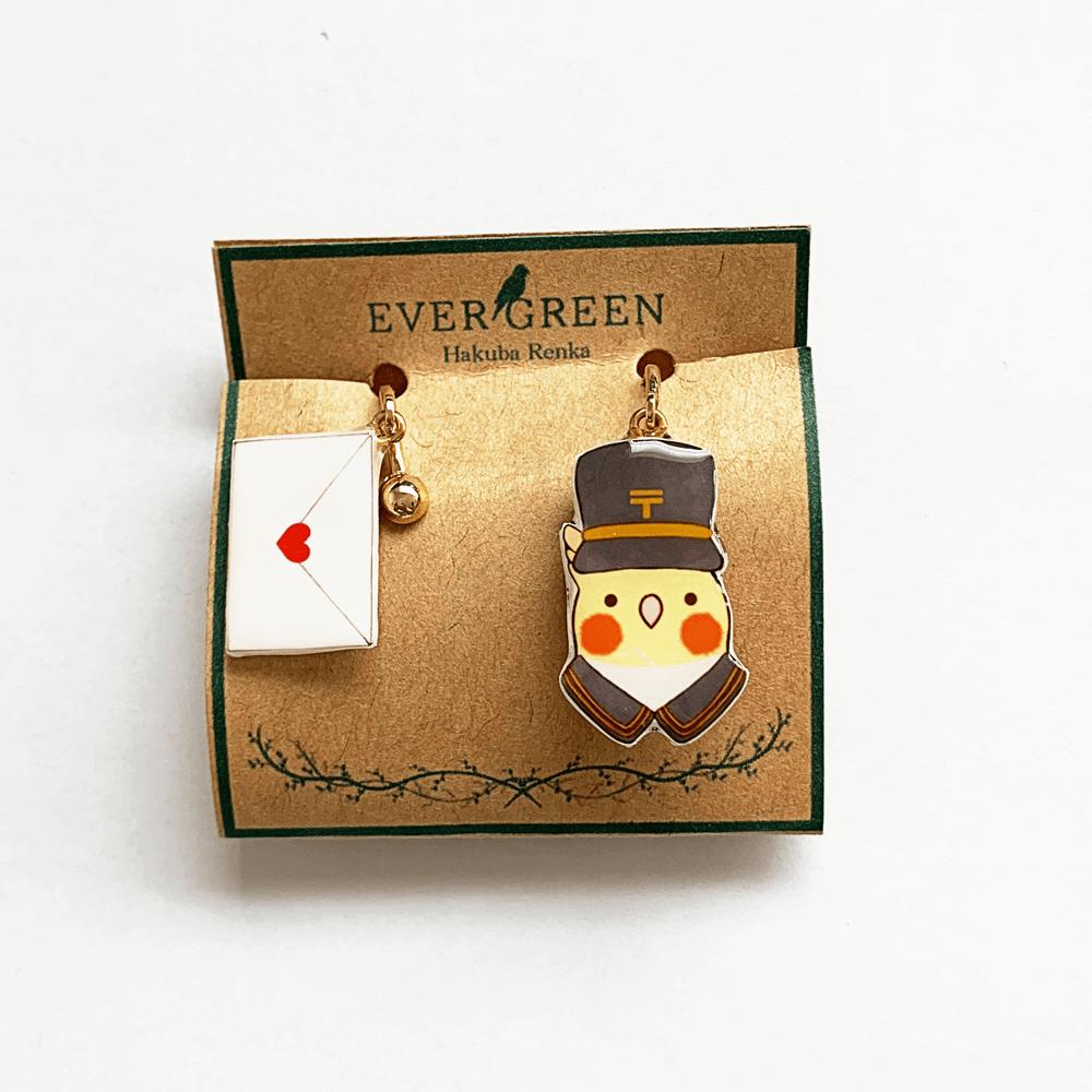 イヤリング(郵便屋さん / オカメインコ ルチノー / 白羽蓮華)