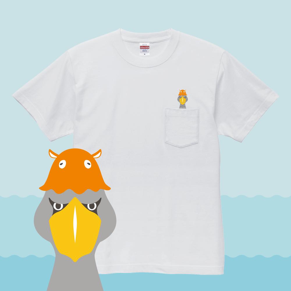刺繍Tシャツ(BIRDAQUARIUM / ハシビロコウ×メンダコ)