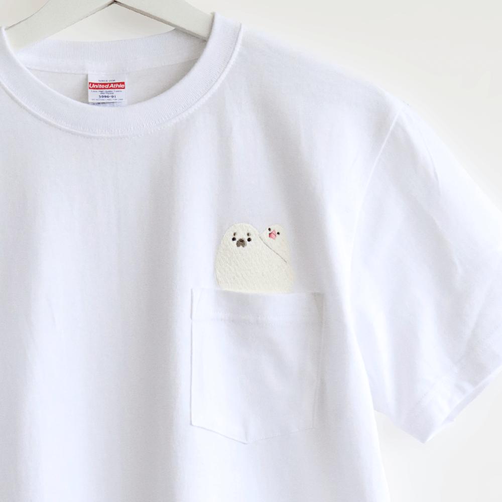 刺繍Tシャツ(BIRDAQUARIUM / 白文鳥×アザラシ)