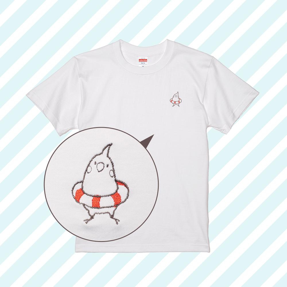 刺繍Tシャツ(ことり×うきわ / オカメインコ)
