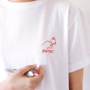 刺繍Tシャツ(torinotorio / 文鳥ポトリ / ピンク)
