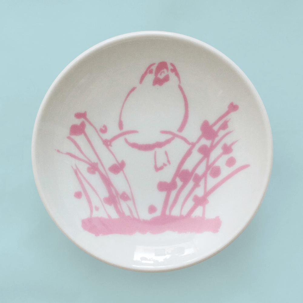 文鳥の成長を見守る豆皿(成鳥)