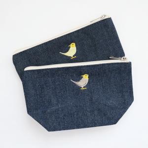 刺繍デニムポーチ(オカメインコ)