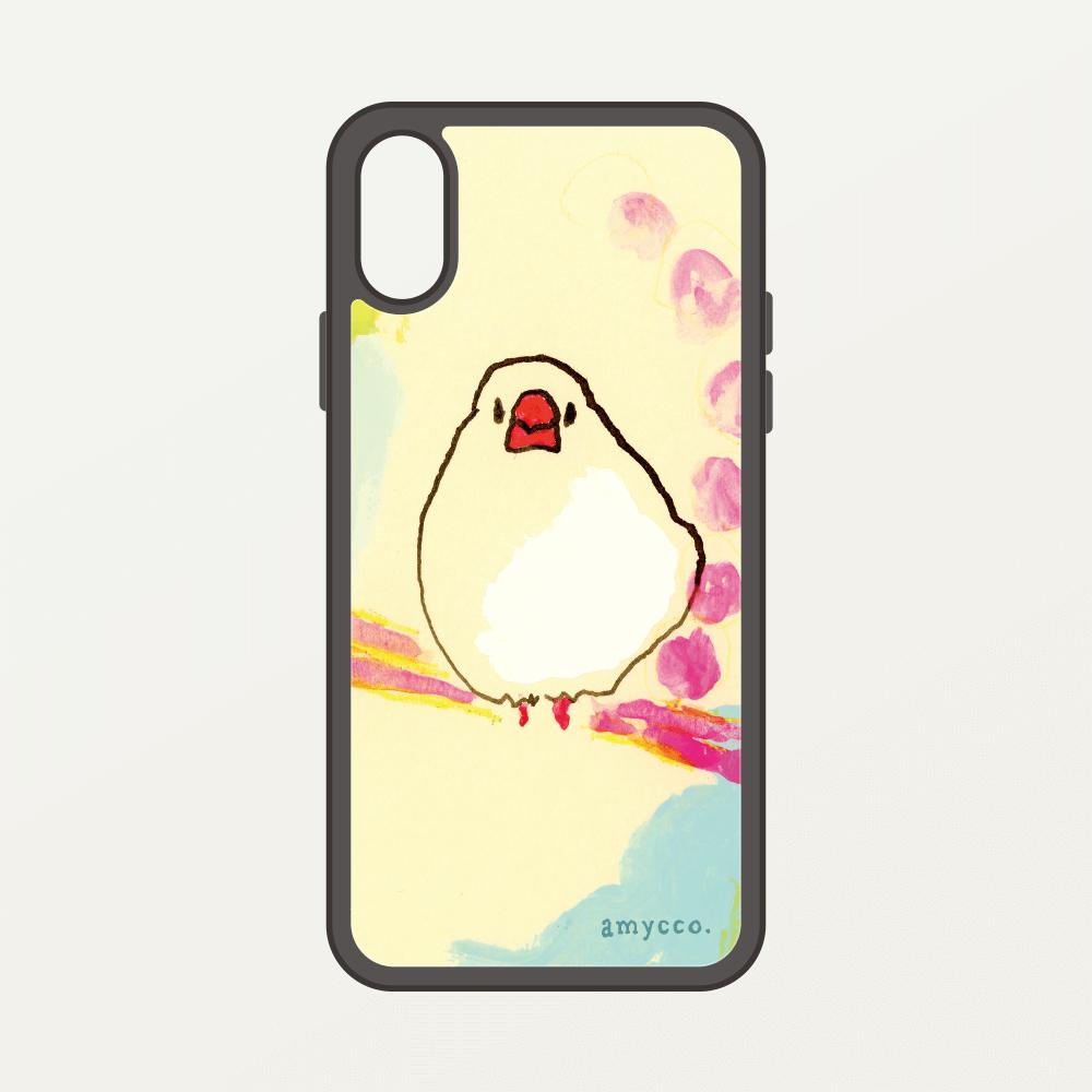 スマートフォンケース amycco. ピンクのブランコ 白文鳥