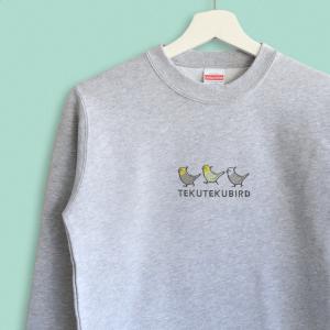 スウェット トレーナー オカメインコのシンプル刺繍