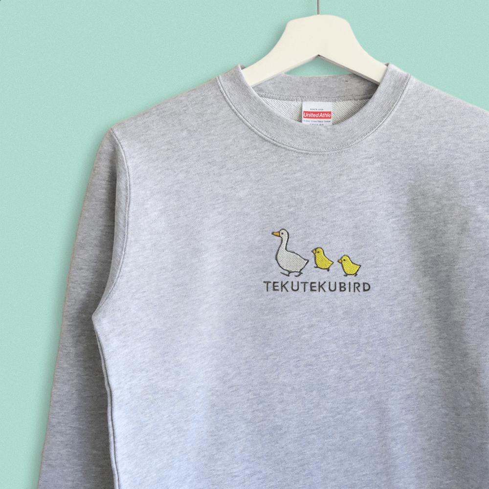 スウェット トレーナー アヒルとヒヨコのシンプル刺繍