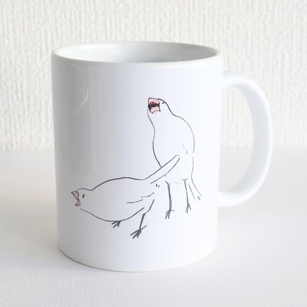 マグカップ(エビvs文鳥)