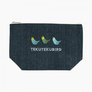 刺繍ポーチ(TEKU TEKU BIRD / セキセイインコ / デニム)