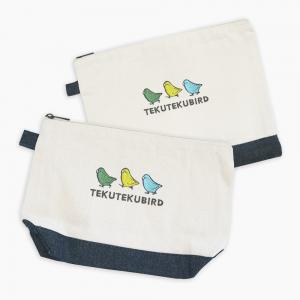 刺繍ポーチ(TEKU TEKU BIRD / マメルリハ / ナチュラル×デニム)