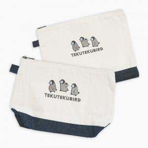 刺繍ポーチ(TEKU TEKU BIRD / ペンギン / ナチュラル×デニム)