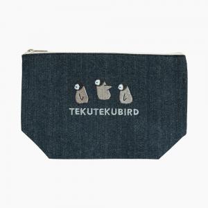 刺繍ポーチ(TEKU TEKU BIRD / ペンギン / デニム)