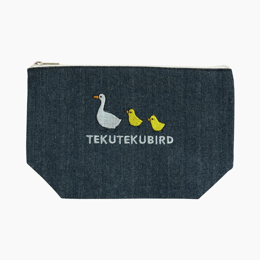 刺繍ポーチ(TEKU TEKU BIRD / アヒル / デニム)