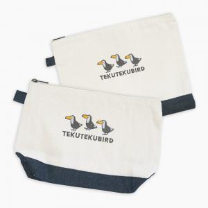 刺繍ポーチ(TEKU TEKU BIRD / オニオオハシ / ナチュラル×デニム)