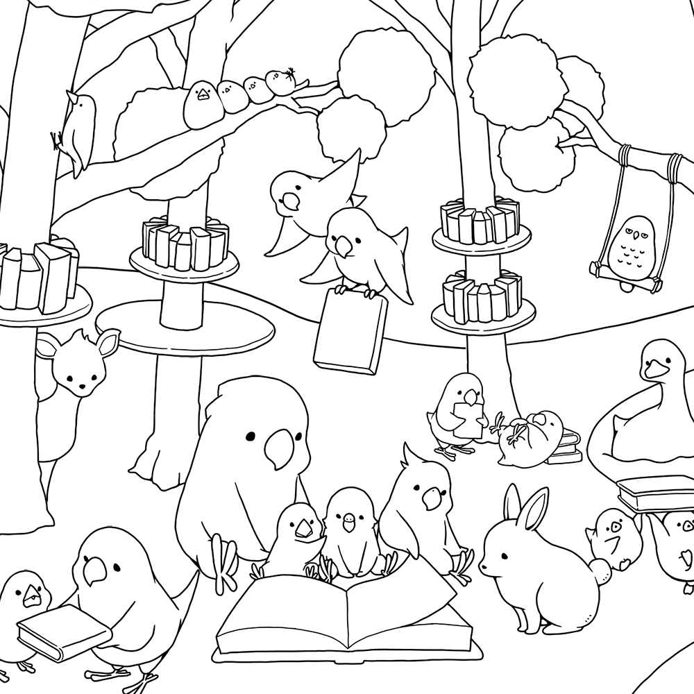 BIRDSTORY 塗り絵 森の図書館