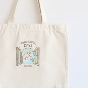 刺繍トートバッグ(WONDERFUL DAYS / セキセイインコ / ブルー)