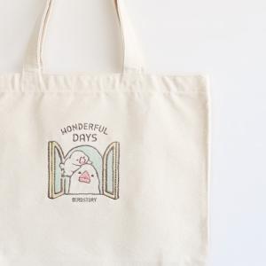 刺繍トートバッグ(WONDERFUL DAYS / 白文鳥)