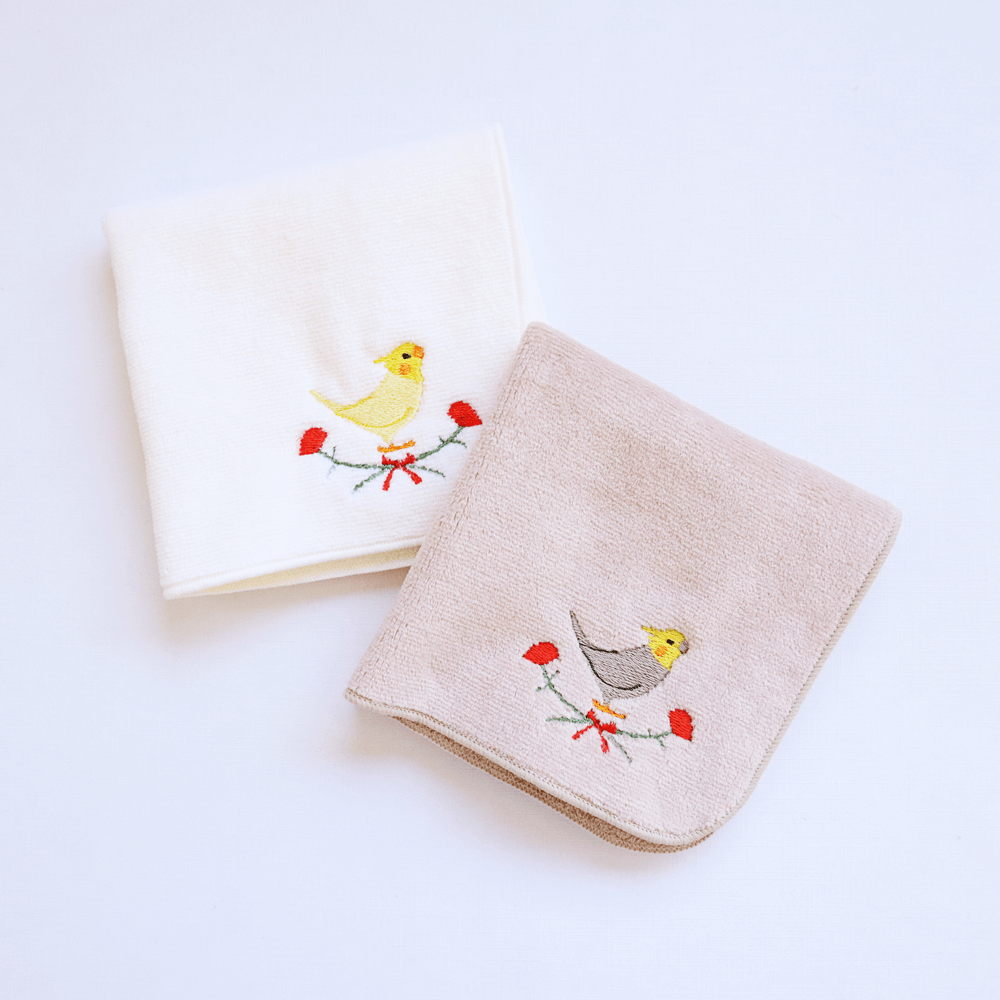 刺繍ミニタオル(オカメインコ / カーネーション)