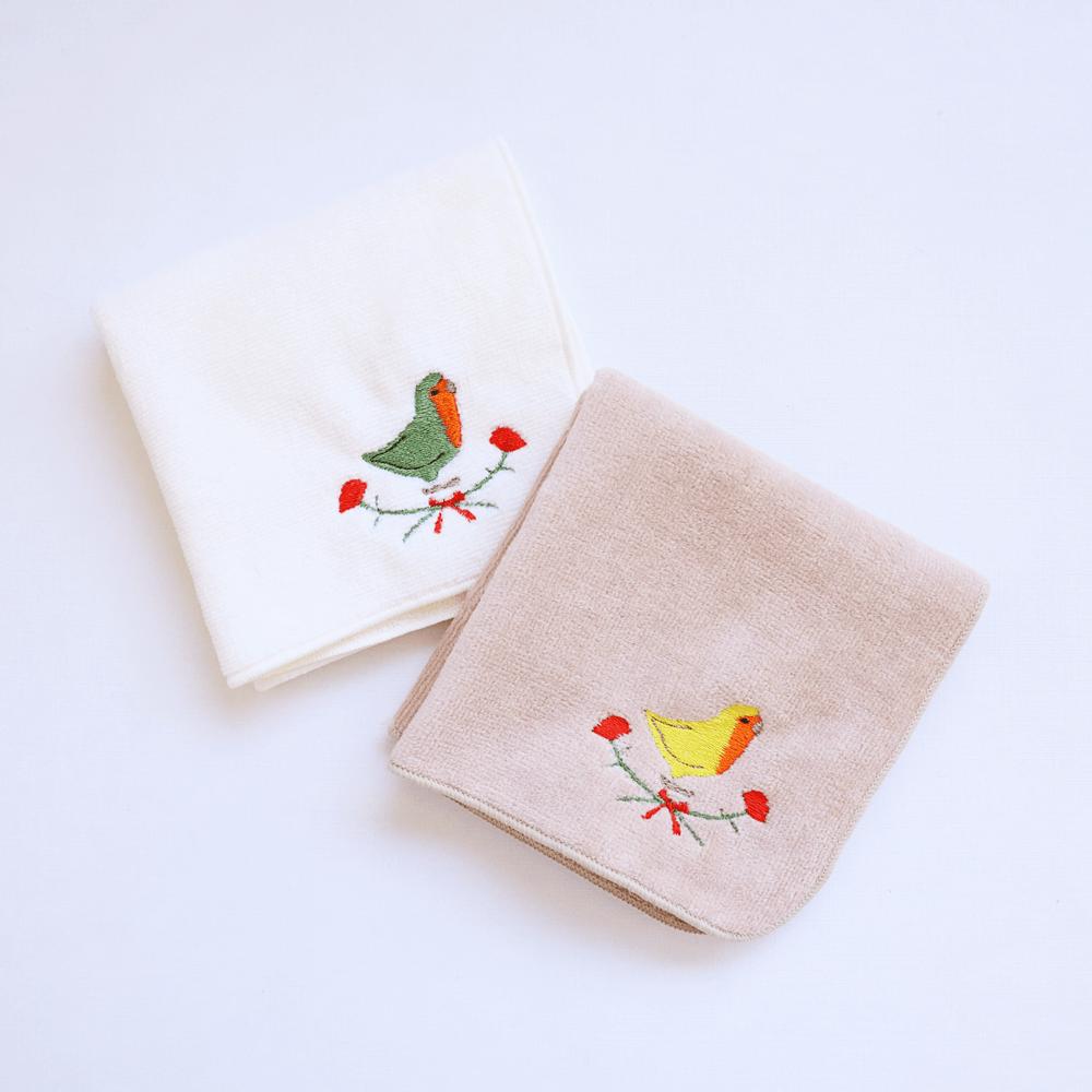 刺繍ミニタオル(コザクラインコ / カーネーション)