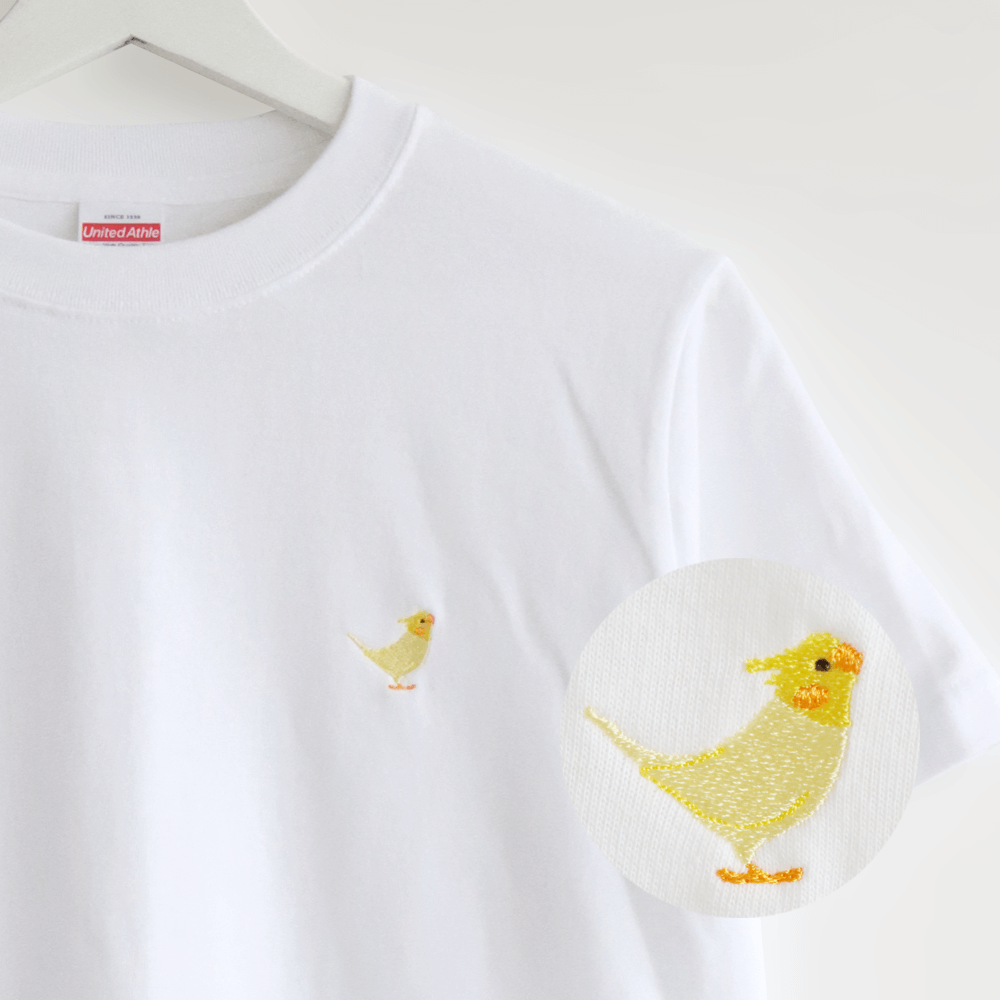 刺繍Tシャツ(BIRD!BIRD!BIRD! / オカメインコ / ルチノー)