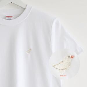 刺繍Tシャツ(BIRD!BIRD!BIRD! / 白文鳥)
