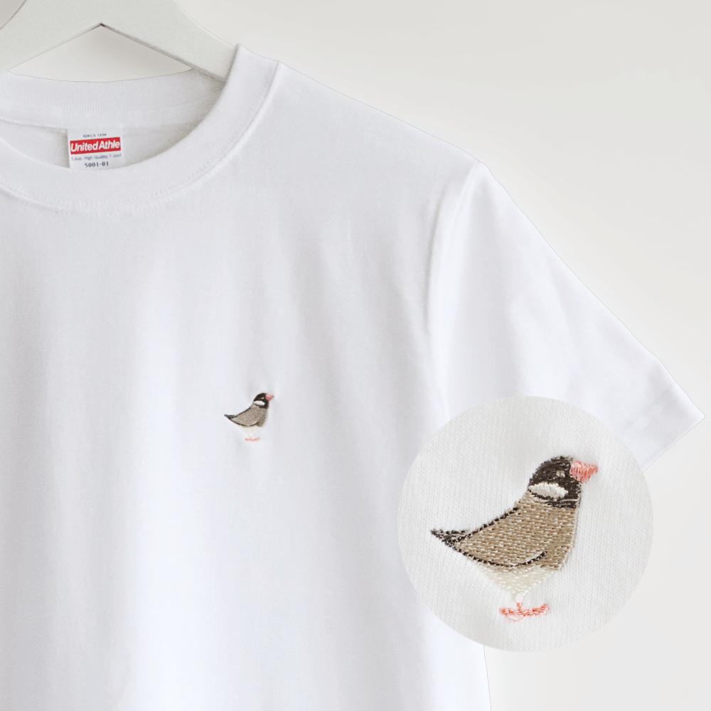 刺繍Tシャツ(BIRD!BIRD!BIRD! / 桜文鳥)