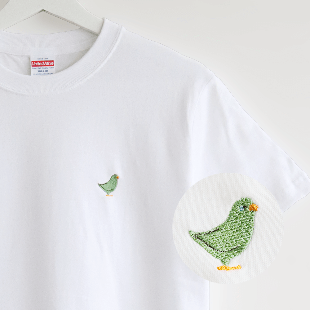 刺繍Tシャツ(BIRD!BIRD!BIRD! / マメルリハ / グリーン)