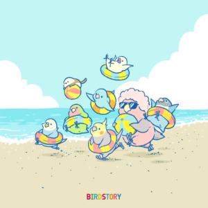 ビーチの日 海水浴 浮き輪 シマエナガ イラスト バードストーリー