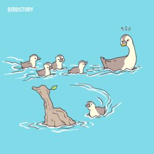 カルガモ親子 水の日 行進 BIRDSTORY