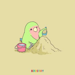 山の日 砂場 イラスト コザクラインコ BIRDSTORY